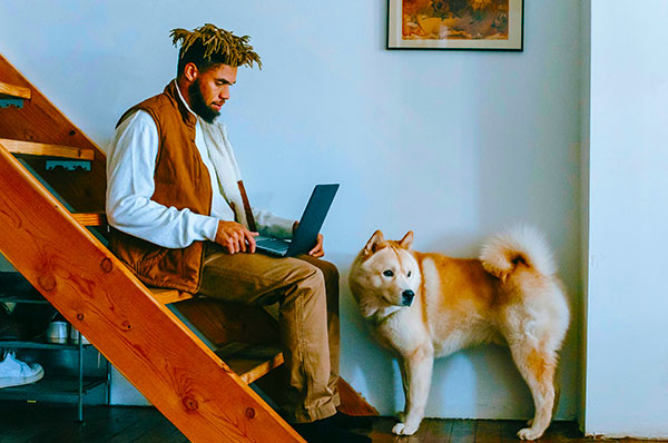 Man and his dog on the stairs